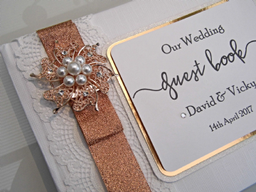 Rose Gold & Lace Wedding Guest Book